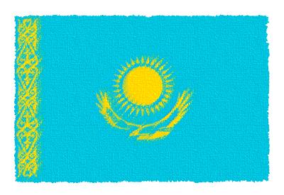 カザフスタン共和国の国旗-パステル
