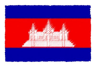 カンボジア王国の国旗-パステル