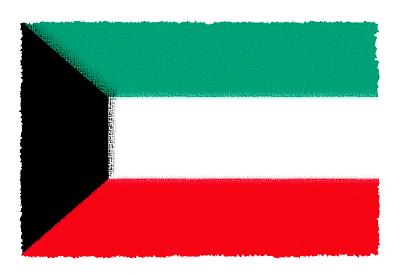 クウェート国の国旗-パステル