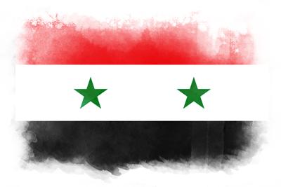 シリア・アラブ共和国の国旗-水彩風