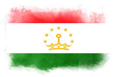 タジキスタン共和国の国旗-水彩風
