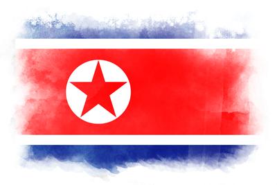 朝鮮民主主義人民共和国(北朝鮮)の国旗-水彩風