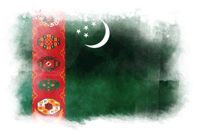 トルクメニスタンの国旗-水彩風