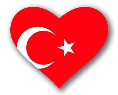 トルコ共和国の国旗-ハート