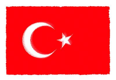 トルコ共和国の国旗-パステル