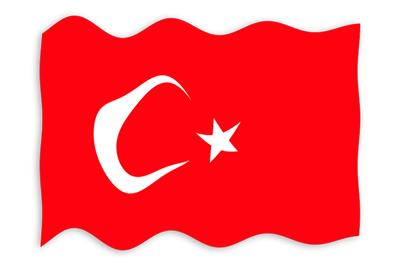 トルコ共和国の国旗-波