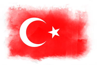 トルコ共和国の国旗-水彩風