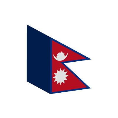 ネパール連邦民主共和国の国旗-積み木