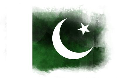 パキスタン・イスラム共和国の国旗-水彩風