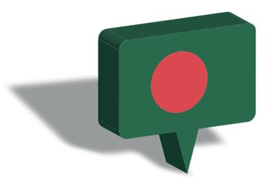 バングラデシュ人民共和国の国旗-マップピン