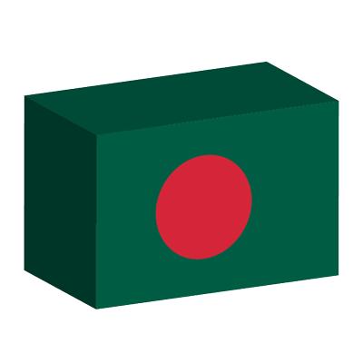 バングラデシュ人民共和国の国旗-積み木