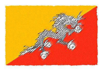 ブータン王国の国旗-パステル