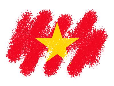 ベトナム社会主義共和国の国旗-クレヨン1