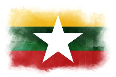 ミャンマー連邦共和国の国旗-水彩風