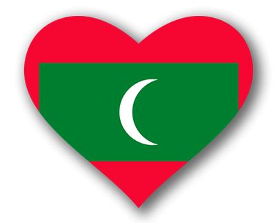 モルディブ共和国の国旗-ハート