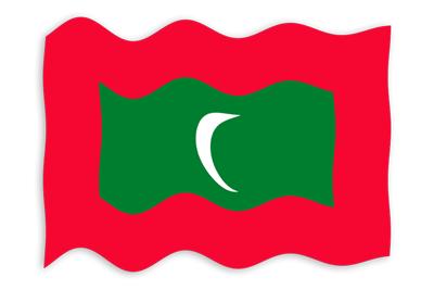 モルディブ共和国の国旗-波