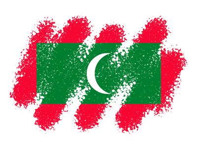 モルディブ共和国の国旗-クレヨン1