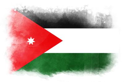 ヨルダン・ハシェミット王国の国旗-水彩風