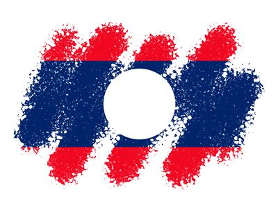 ラオス人民民主共和国の国旗-クレヨン1