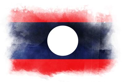 ラオス人民民主共和国の国旗-水彩風