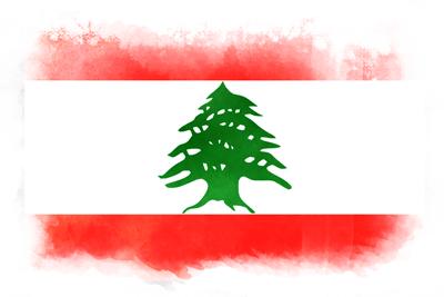 レバノン共和国の国旗-水彩風