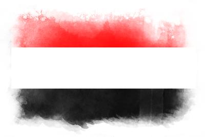 イエメン共和国の国旗-水彩風