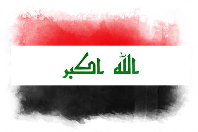 イラク共和国の国旗-水彩風