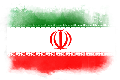 イラン・イスラム共和国の国旗-水彩風