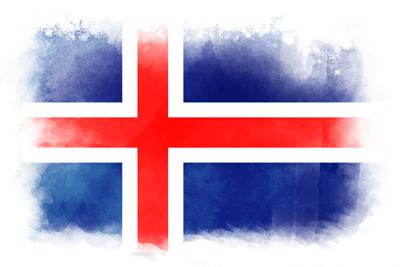 アイスランド共和国の国旗-水彩風