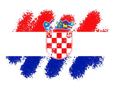 クロアチア共和国の国旗-クレヨン1