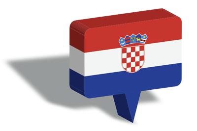クロアチア共和国の国旗-マップピン