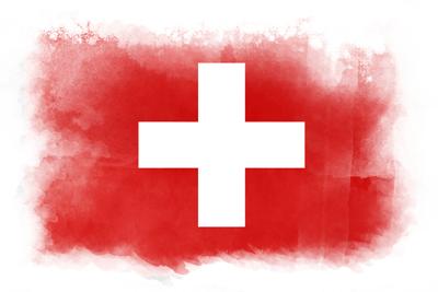 スイス連邦の国旗-水彩風