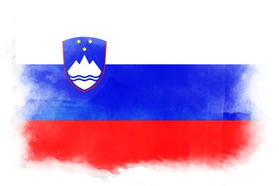 スロベニア共和国の国旗-水彩風