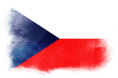チェコ共和国の国旗-水彩風