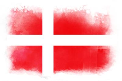 デンマーク王国の国旗-水彩風