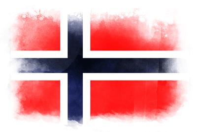 ノルウェー王国の国旗-水彩風