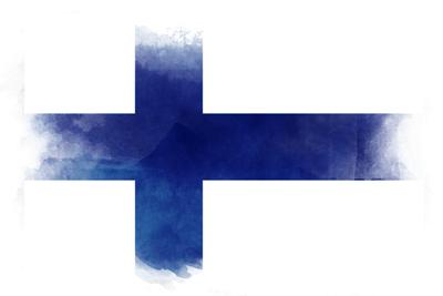 フィンランド共和国の国旗-水彩風