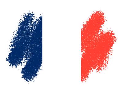 フランス共和国の国旗-クレヨン1