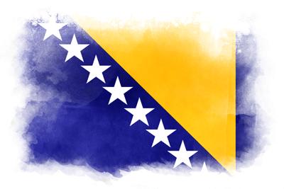 ボスニア・ヘルツェゴビナの国旗-水彩風