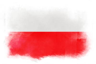 ポーランド共和国の国旗-水彩風