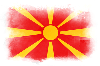 マケドニア旧ユーゴスラビア共和国の国旗-水彩風