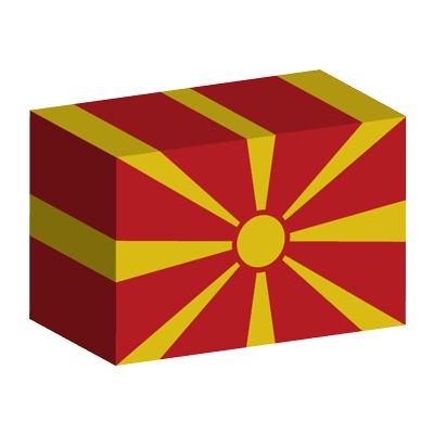 マケドニア旧ユーゴスラビア共和国の国旗-積み木