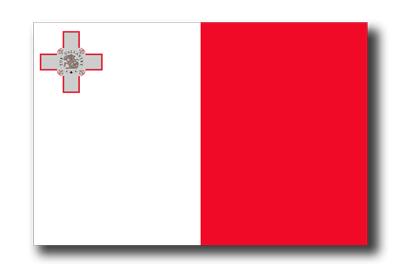 マルタ共和国の国旗-ドロップシャドウ