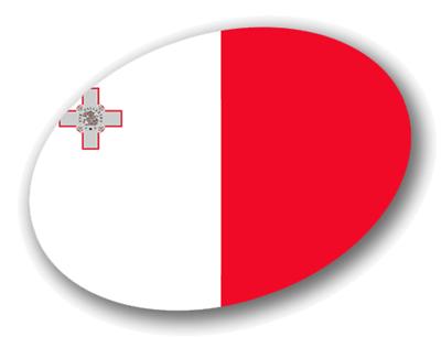 マルタ共和国の国旗-楕円