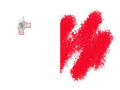 マルタ共和国の国旗-クレヨン1