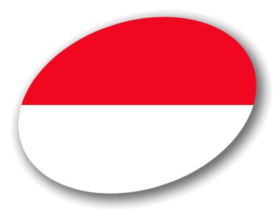 モナコ公国の国旗-楕円