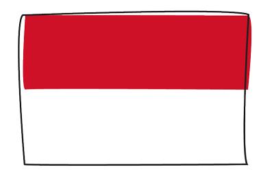 モナコ公国の国旗-グラフィティ