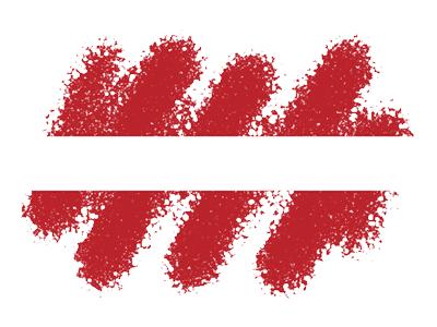 ラトビア共和国の国旗-クレヨン1