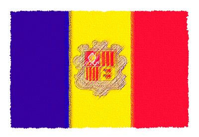 アンドラ公国の国旗-パステル