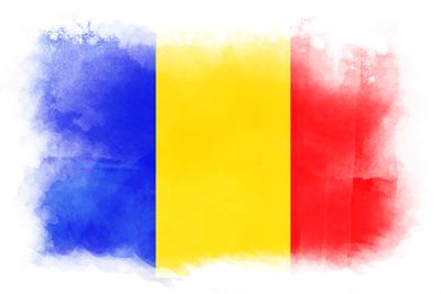 ルーマニアの国旗-水彩風